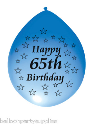 10 X 11 Balloons Happy 65th Birthday Asst Colours