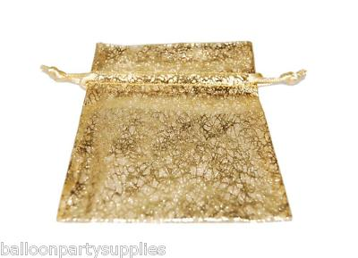 10 organza eleganza wedding favour bags gold bullion