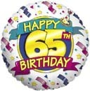 "18"" Foil Balloon Happy 65th Birthday"