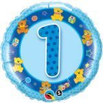 "18"" Foil Balloon printed Blue 1st Birthday with teddies"