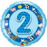 "18"" Foil Balloon printed Blue 2nd Birthday with animals"