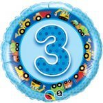 "18"" Foil Balloon printed Blue 3rd Birthday with Tractor"