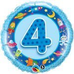 "18"" Foil Balloon printed Blue 4th Birthday Spaceman"