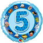 "18"" Foil Balloon printed Blue 5th Birthday Pirates"