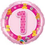 "18"" Foil Balloon printed Pink 1st Birthday with teddies"