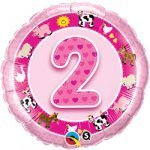 "18"" Foil Balloon printed Pink 2nd Birthday with animals"