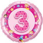 "18"" Foil Balloon printed Pink 3rd Birthday with Fairies"