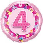 "18"" Foil Balloon printed Pink 4th Birthday Princess"