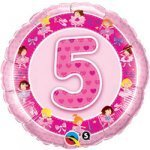 "18"" Foil Balloon printed Pink 5th Birthday Ballerina"