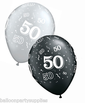 25 X 11 Qualatex 50th Birthday Balloons Onyx Black